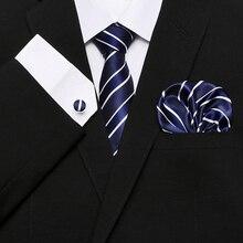 Tie + Hanky Cufflinks Men`s 100% Silk Set Red Plaid print Jacquard Woven Brand Paisley Mens Necktie