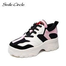 1bed044a3 Leve sorriso Círculo Moda Sneaker para mulheres sapatos 2019 Primavera  Respirável plataforma Plana tênis Casuais Ao