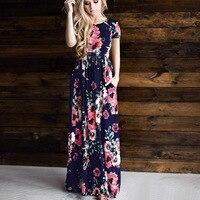 Floral Print Long Maxi Dress Women 2018 Fashion Female Summer Beach Dress Casual Ladies Long Party