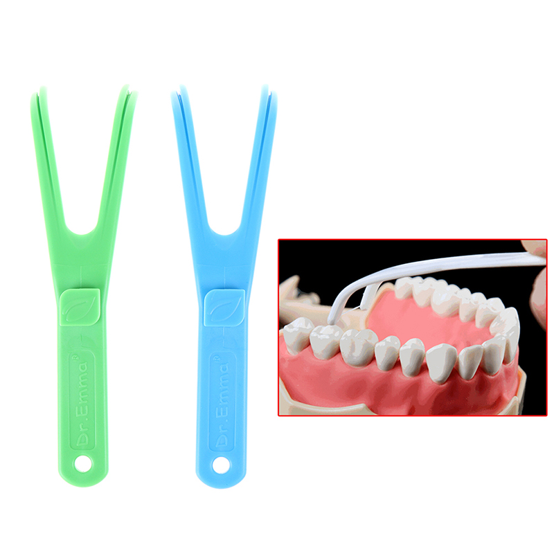 Green/Blue Y Shape Dental Flosser Holder Floss Interdental Cleaner Tooth picking device(China)