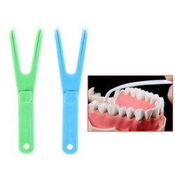 Green/Blue Y Shape Dental Flosser Holder Floss Interdental Cleaner Tooth picking device