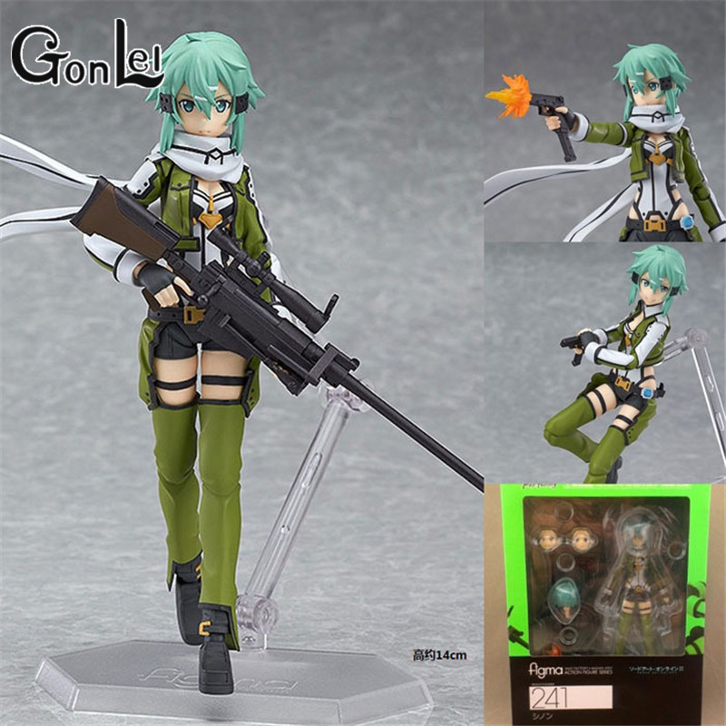 GonLeI PVC Figma 241 GGO Sinon Action Figure SAO Brand Anime Sword Art Online 2 Model Toy Joints Movable Interchangeable Gift women bright leather flats round toe shallow chaussure soft sole ladies shoes low heel spring casual loafer shoe slip on flats