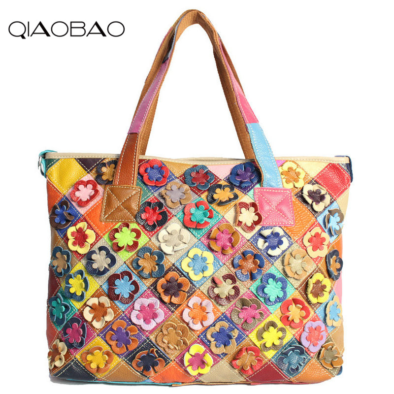 цена QIAOBAO 2018 New 100% Cowhide Leather Handbags Women Patchwork Ladies Hand Bags Girls Soft Genuine Leather Shoulder Bag Ladybag