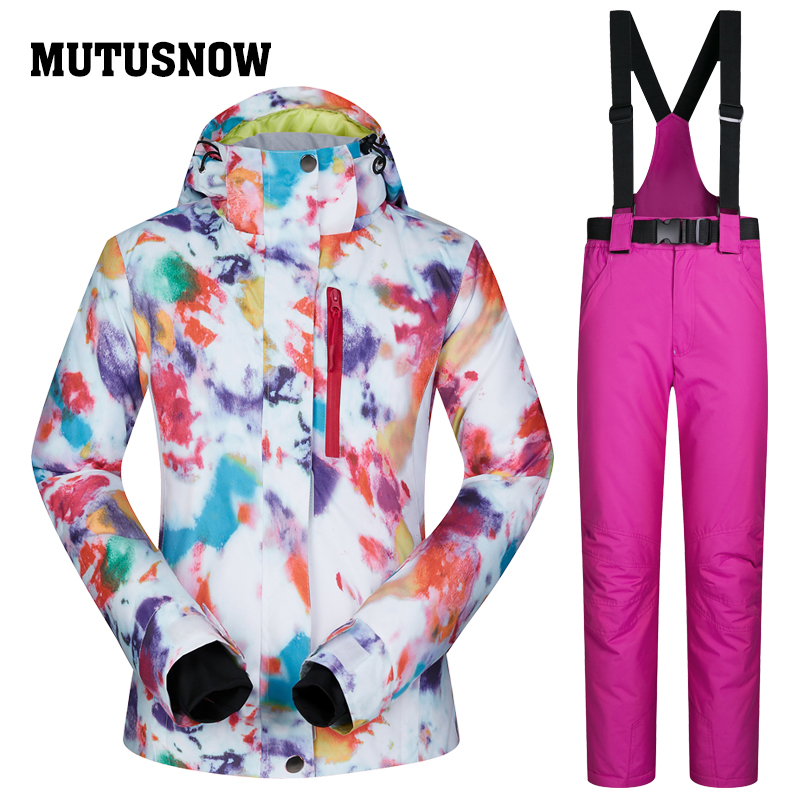 76342acedacc 2018 MUTUSNOW Women Ski Jacket Pant Skiing Snowboard Suit Windproof  Waterproof Outdoor Sport Wear Super Warm Clothing Trouser