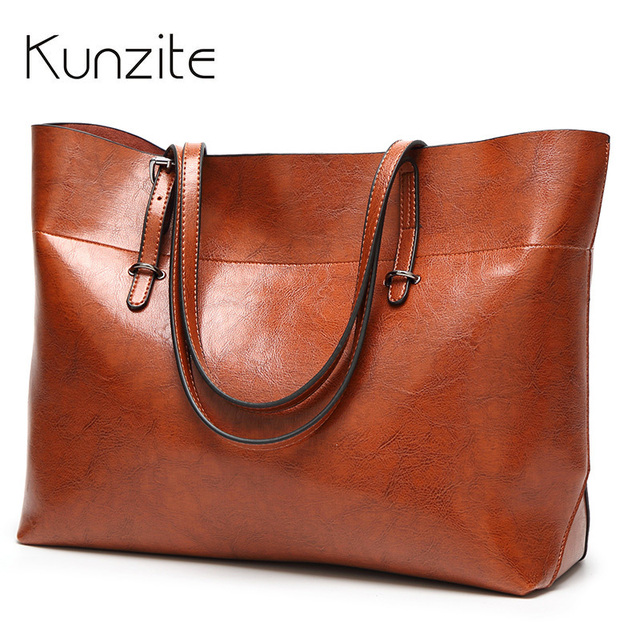 17a05c9ed5 KUNZITE Leather Bags Handbags Women Famous Brands Big Casual Women Bags  Tote bags Spanish Brand Shoulder Bag Ladies large Bolsos