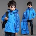 kids boys winter clothes 2pcs waterproof windproof hooded outerwear jacket+cotton-padded warm coat boys winter sports jacket