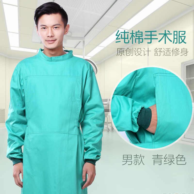 2019 مستشفى كم طويل الظهر تعادل الطبيب المعطف القطن الأخضر رداء للعمليات الجراحية الرعاية الصحية العمال