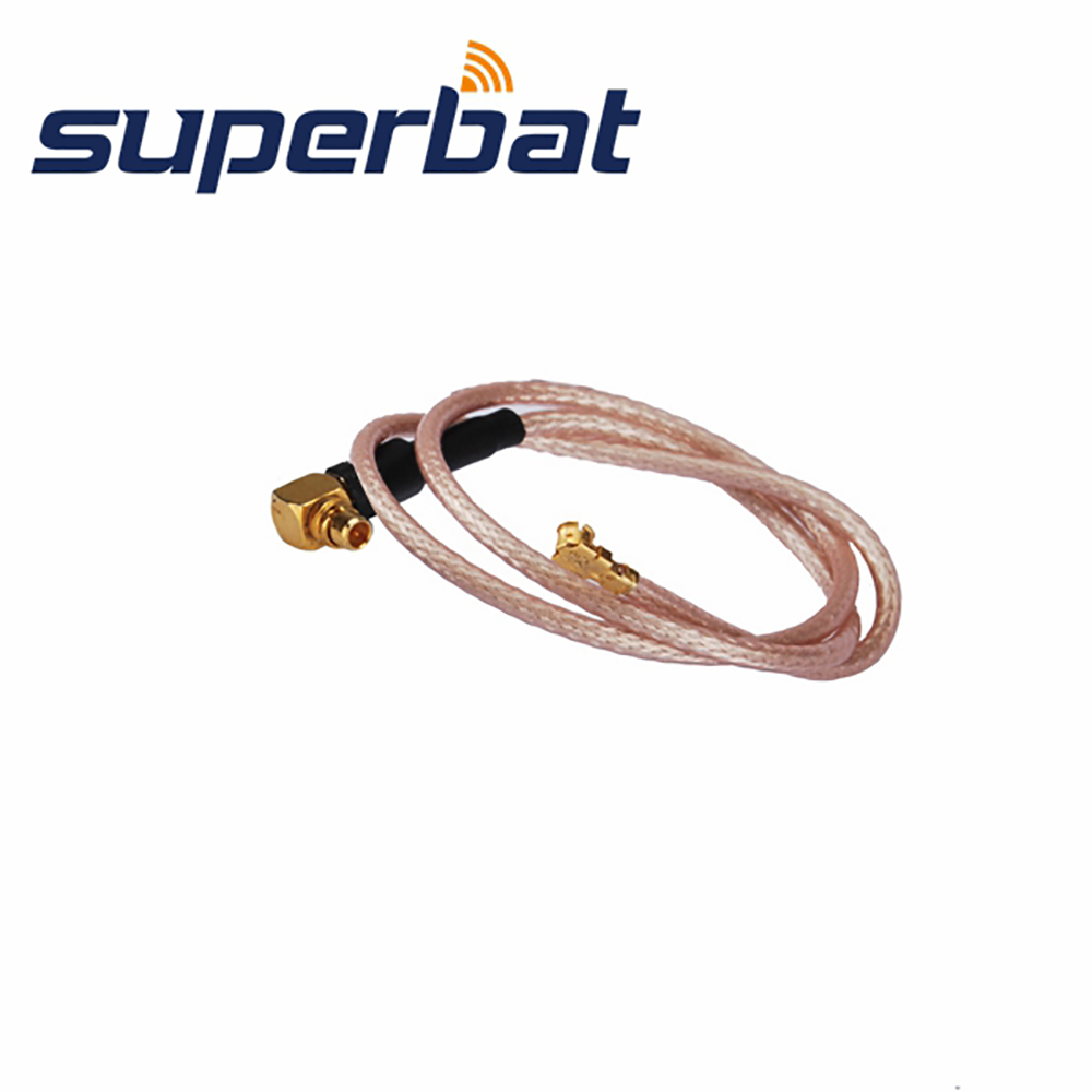 Superbat MMCX Right Angle Plug  To UFL/IPX Right Angle Jack Pigtail Cable Antenna Feeder Cable Assembly RG178 20cm