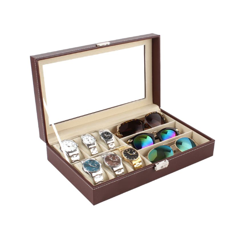 6 Slot Men Watch Glasses Box Leather Display Case Organizer Jewelry Storage6 Slot Men Watch Glasses Box Leather Display Case Organizer Jewelry Storage