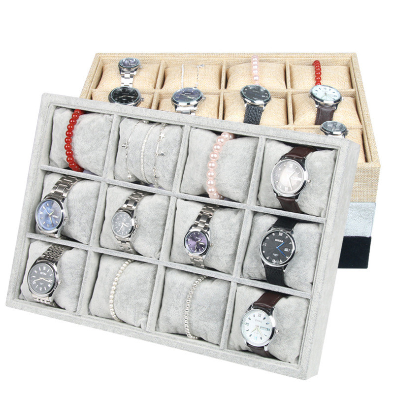 New Arrival 12 Grids Flannel Velvet Watch Case Storage Organizer Box Luxury Jewelry Ring Display Watch Boxes Black top New цена