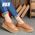 HKR 2017 spring women platform shoes genuine leather lace up flats platform casual shoes flat shoes ladies creepers shoes 768