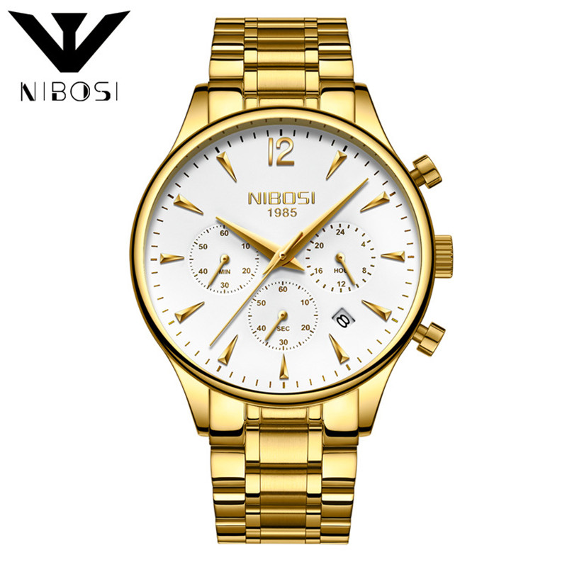 Nibosi Business Style Men Watches Calendar Fashion Stainless Steel Male Clock Luxury Quartz Wrist Watch Man Valentine's Day Gift 2016 luxury brand men business watch stainless steel band machinery sport quartz wrist watches male dress watch clock gift