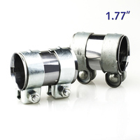 """ZUCZUG 1.77"""" 45mm Exhaust Pipe Connector Heavy Duty Sleeve Double Clamp Tube Adapter Joiner V band clamp