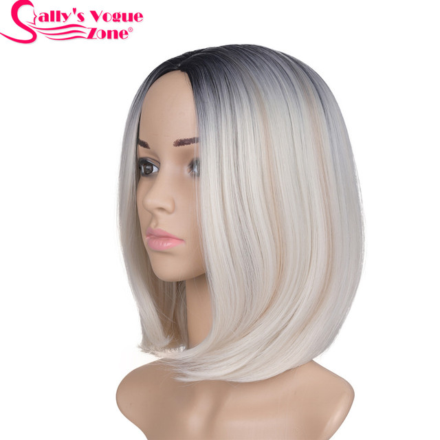 Sallyhair Middle Part 12inch Japanese High Temperature Fiber Synthetic Short Ombre Black Blonde Color Bob Wig For Women