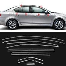 Автомобильный верхний нижний оконный накладка внешний хромированный Стайлинг из нержавеющей стали для Skoda Octavia A7- автомобильный Стайлинг
