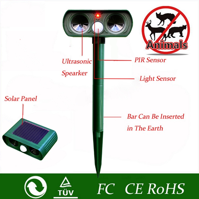 Ultrasonic Cat Repeller pest repeller Dog Fox Deterrent Chaser Repellent Eco-friendly Solar Powered Garden Pest Animal Repeller