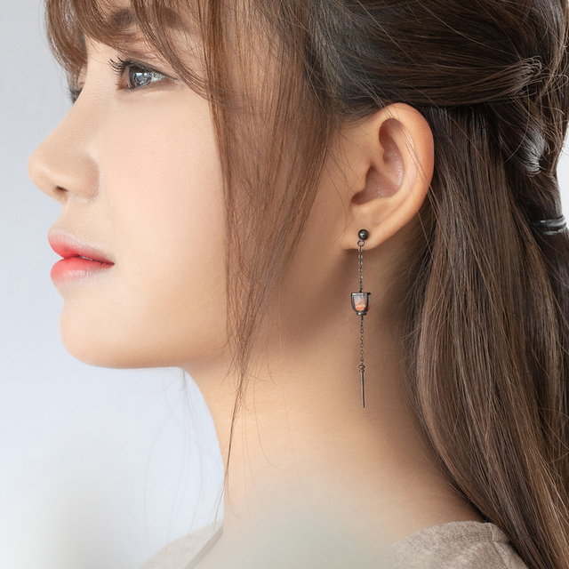 Thaya Vintage Long Pendant Earrings Dropping Sky Lantern Handmade s925 sterling Silver Studs For Women Female Elegant Jewelry