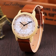 FanTeeDa Brand Luxury Wood Watches Women Fashionable Quartz Movement Pattern Watch Fashion Dress Female Wristwatches Clock