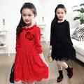 2016 Fashion red princess dresses girls spring/autumn children baby beautiful kids full sleeve lacing dress black/red/pink 4-13