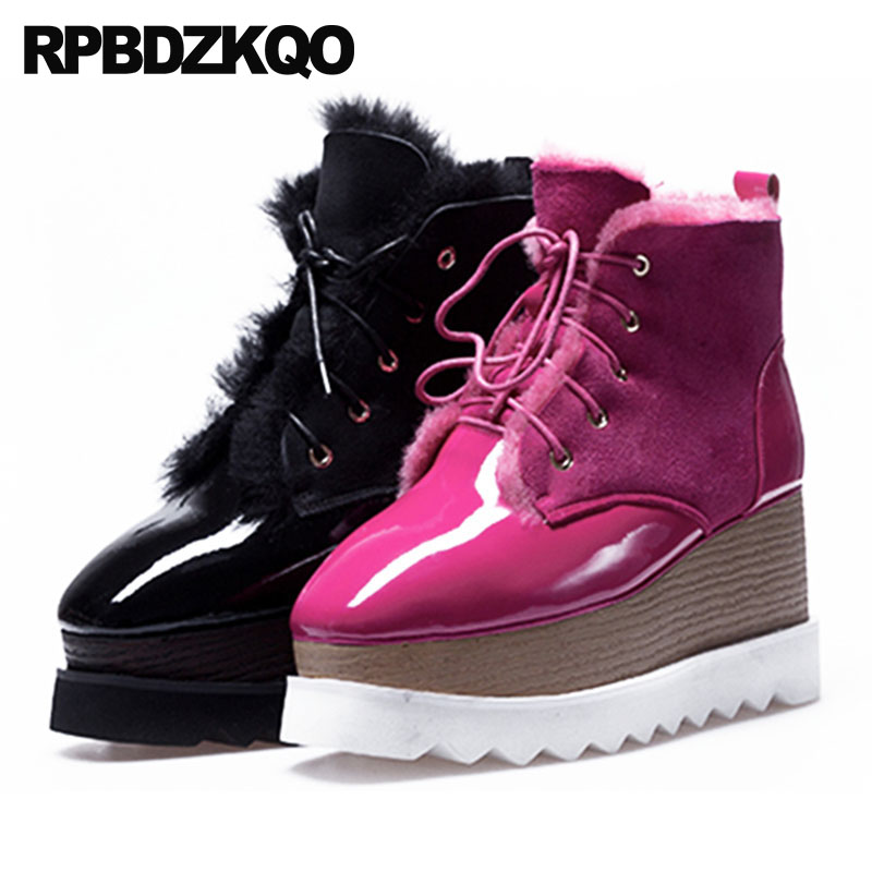 Harajuku Real Fur Muffin High Heel Winter Snow Boots Women Ankle Shoes Sheepskin Lace Up Flatform Square Toe Patent Leather
