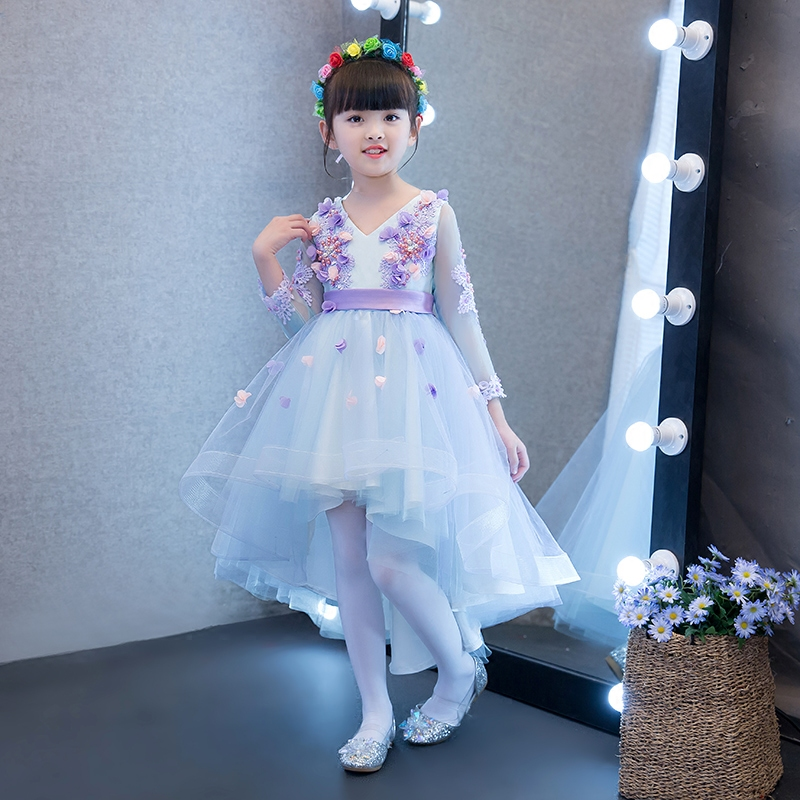 2017New Blue Color Children Girls Flowers Princess Party Dress Kids Babies Wedding Birthday Trailing Dress Front Short Back Long girls champagne short front long back flower girl dress for wedding trailing formal party vestidos girls clothes 2017 skf154024
