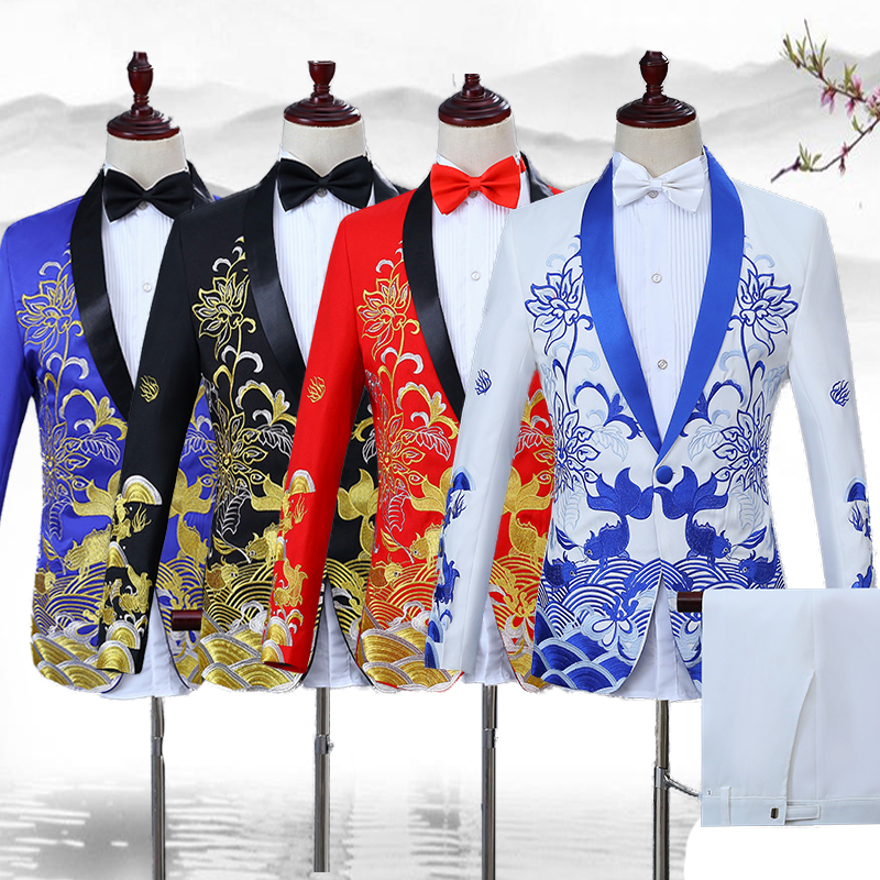 Men Formal Jackets Embroidery Costumes Outfits Chinese Style Clothes Male Nightclub Bar Set Singer Performance Clothing DT755