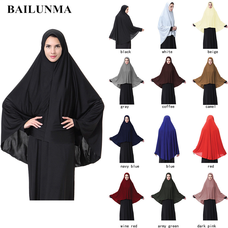 Women's Prayer clothing Black Arabian Women long muslim hijab hat islamic products Headscarf Abaya muslim head scarf