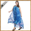 VITIANA Women Summer Elegant Beach Chiffon Clothing Bohemian Blue Print Maxi Long Party Dress Plus Size 5XL 6XL Vestidos