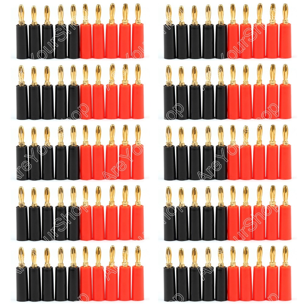 Hot Sale 100 Pcs Speaker Banana Plug Gold Plate Connector 45mm Black And Red hot sale 2x 250g 100