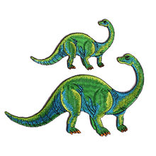 Green Brachiosaurus Dinosaur Animal Iron On Embroidered Clothes Patches For Clothing Stickers Garment Wholesale(China)