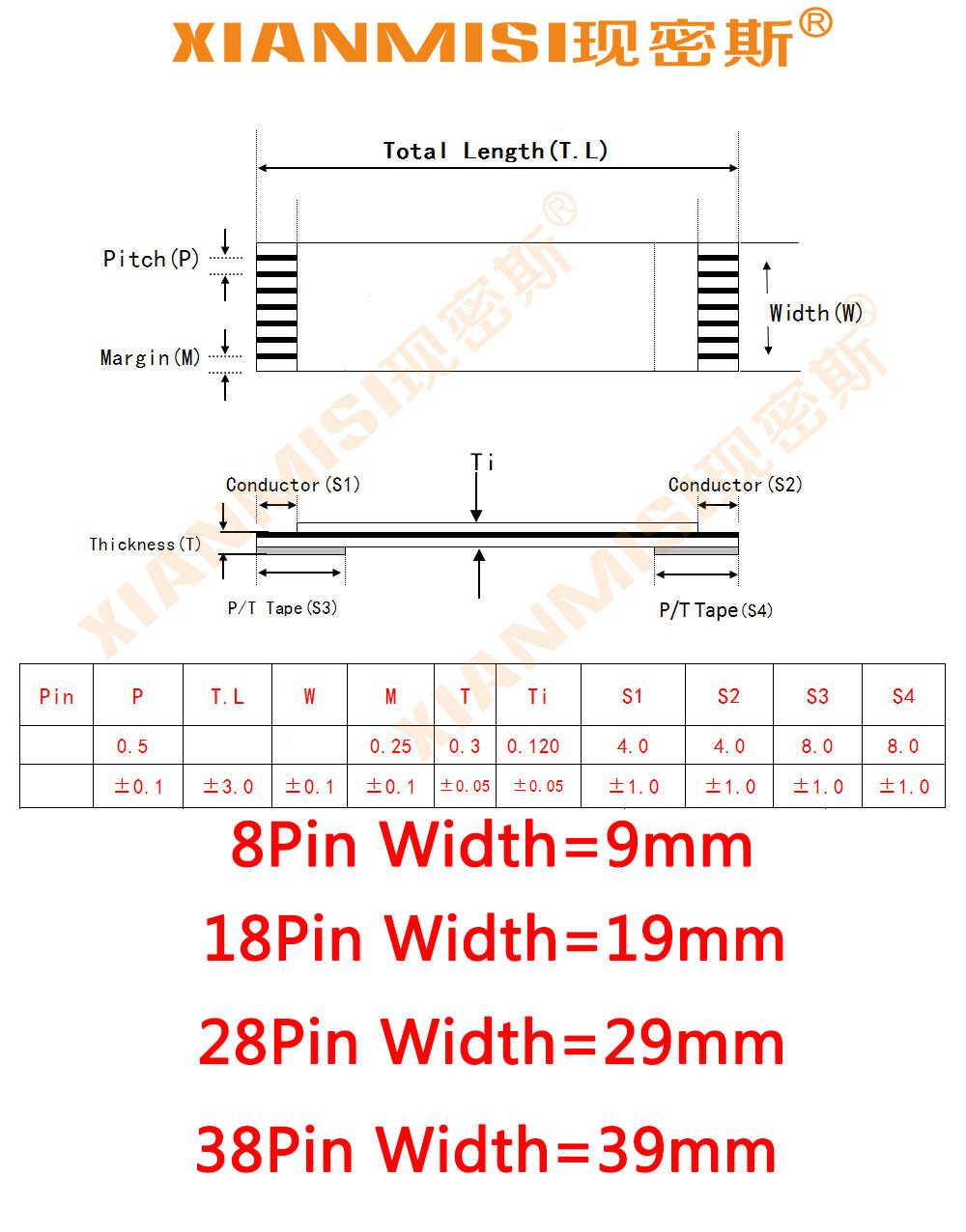 FFC/FPC Platte Flex Verlengkabel 8Pin 18Pin 28Pin 38Pin Dezelfde Kant 1.0mm Pitch AWM VW-1 20624 20798 80C 60 V Lengte 50 cm 5 STKS