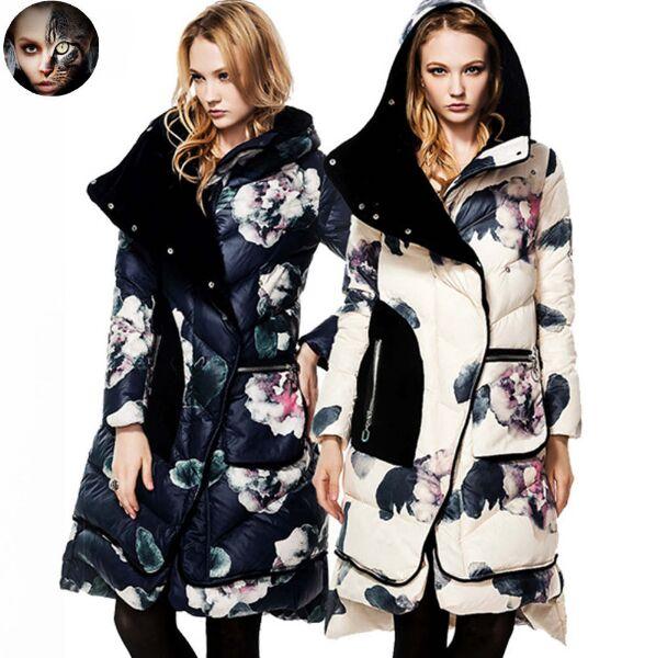 US $97.49 35% OFF|Neue Mode Frauen Daunenmantel CLJ Jacken Mode Winter Lange mantel Weibliche Ente Daunenjacke Marke Floral Casual Samt Dicken Parka