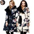 Nueva Moda Para Mujer de Down Chaquetas de Invierno de La Moda Abrigo CLJ Largo escudo Duck Down Jacket Marca Femenina Floral Ocasional de Terciopelo Grueso Parka