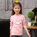 Girls T-Shirts Cotton Cartoon Hippo Tops For Girls Long Sleeve Letter Girls Children Tees 2 6 8 10 12 Years 2017 School Uniforms