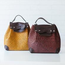 Китайский ветер ручной мешок соломы ретро пары дамы мешок моды случайные охраны окружающей среды рюкзак