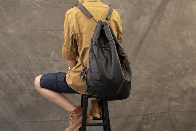 Men s Backpack Large Capacity Drawstring Backpack Soft Genuine Leather Bucket Bag Women Concise School Travel