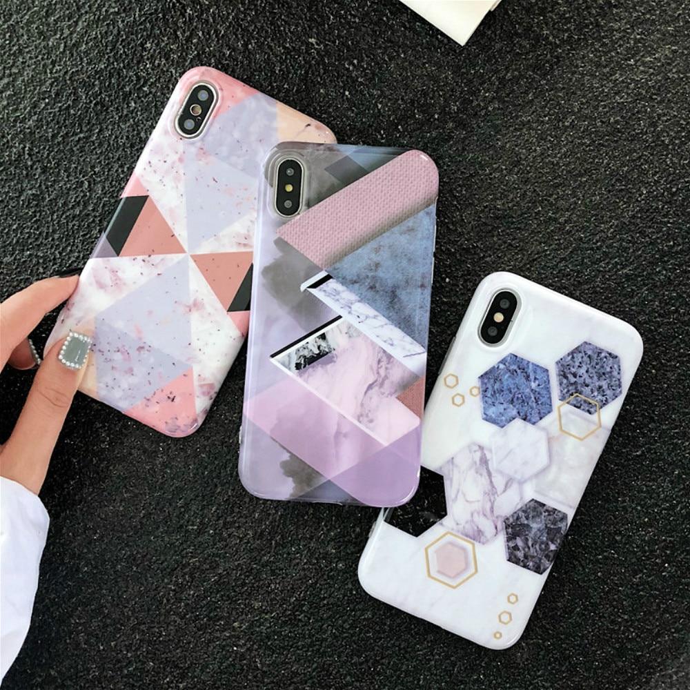 Geometrische Marmor Fall Für Iphone X Xr 6 8 7 Plus 6 S Nette Hohe Qualität Multicolor Skins Gemusterten Shell Taille Und Sehnen StäRken Handys & Telekommunikation