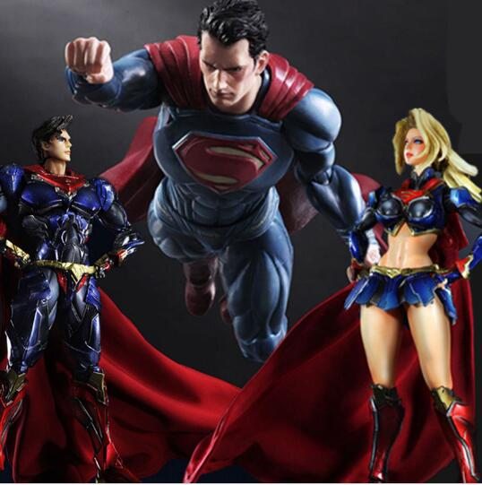 Superman Action Figure Supergirl Super Woman Play Arts Kai PVC Model Toys Anime Super Man Supergirl Playarts Collectible Doll блокнот printio supergirl