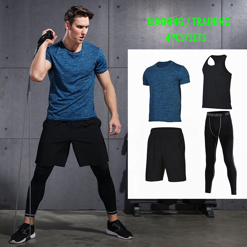 Vansydical Fitness Compression Tight Sport Suits Men's Sportswear Running 4pcs/Set Basketball Soccer Jersey Jogging Suits