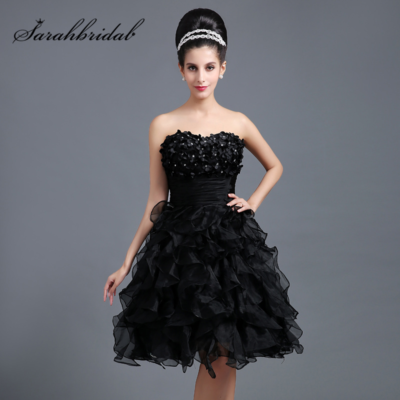Sweetheart Puffy Ball Gown   Cocktail     Dresses   with Applique Organza Heavy Ruffles Little Black   Dress   Homecoming Party Gown SD265