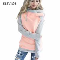 ELSVIOS 2017 Double Hood Hoodies Sweatshirt Women Autumn Long Sleeve Side Zipper Hooded Casual Patchwork Hoodies