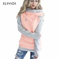 ELSVIOS 2017 Double Hood Hoodies Sweatshirt Women Autumn Long Sleeve Side Zipper Hooded Casual Patchwork Hoodies