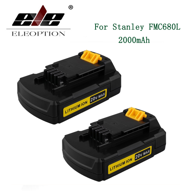 ELE ELEOPTION 2PCS 20V Max 2000mAh Lithium Ion Replacement Battery for Stanley Power Tools FMC680L