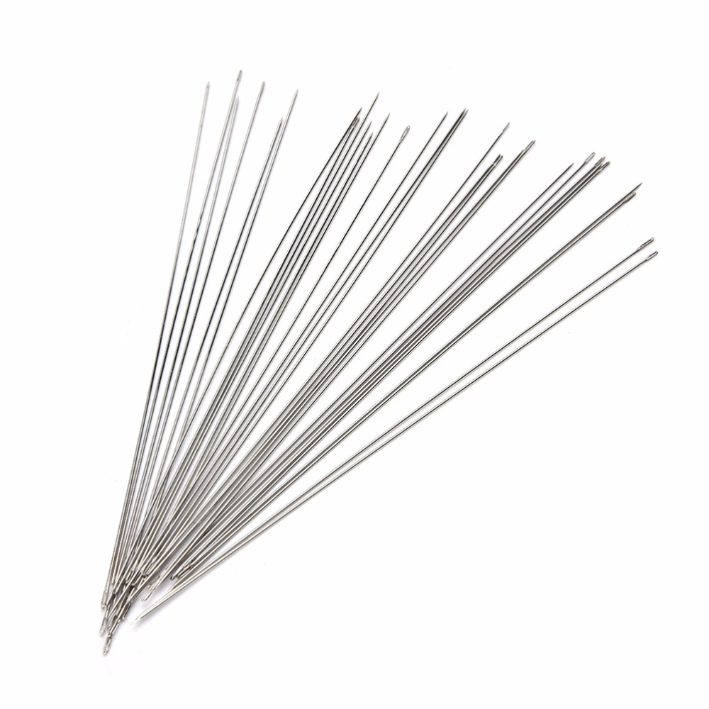 30Pcs 120mm Beading Needles Threading String/Cord Jewelry Tool Tweezers Vise Glue Gun Pliers Ring Sizer Graver Jewelry Tools