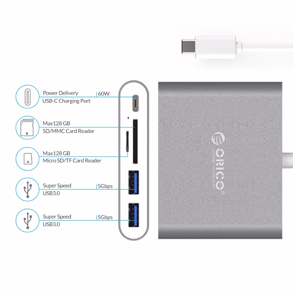 Orico Aluminum Laptop Docking Stations Usb Hub Type C To Tf Sd Card 6518us3 Portable Usb30 Us 2399 35 Inch Super Speed Hard Drive Hdd Enclosure Sata30 Case Station Support Uasp 12v2a