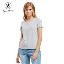 e9d444b6c ZAN. verão ESTILO Casual Mulheres Camiseta Sólidos O Pescoço de Manga Curta  Camiseta Femme Diária