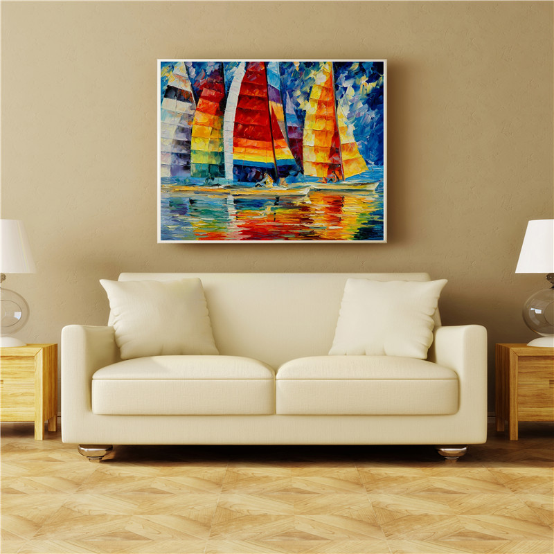 Sailboat Art Oil Painting Canvas Print Picture Home Room Decoration Unframed