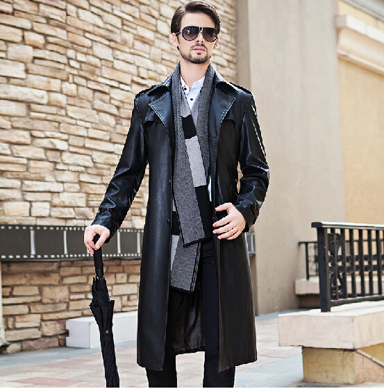 M-4XL ! New Men's Autumn Winter Brand Leather Coat Plus Size Suit Collar Leisure Lengthened Trench Coat Overcoat