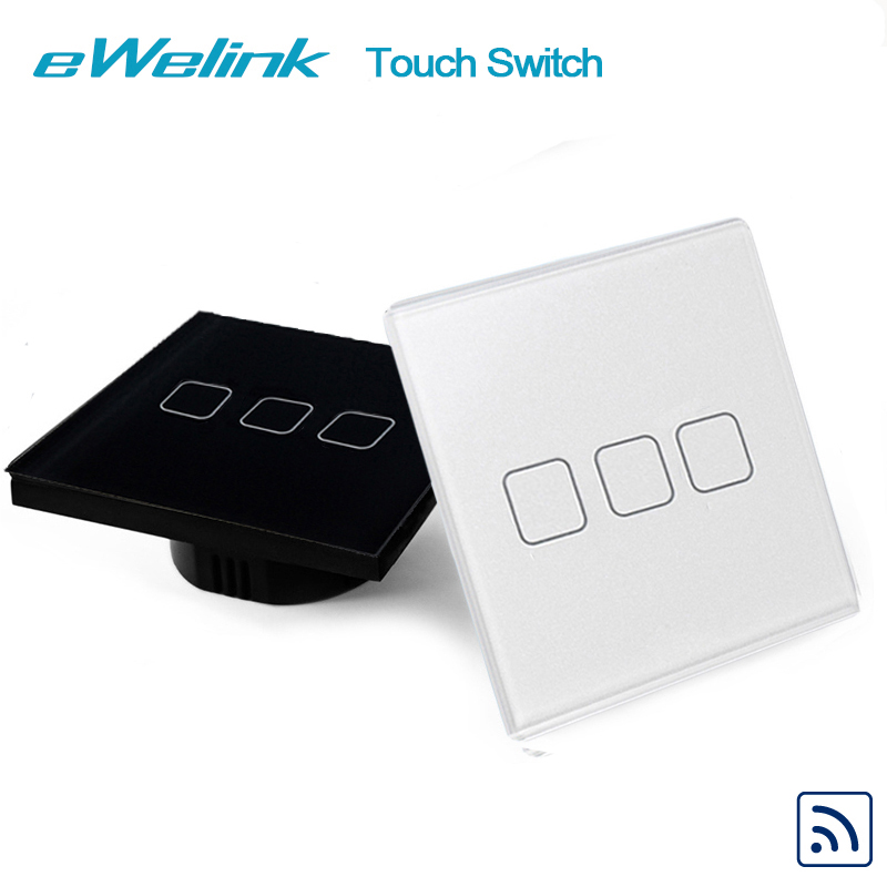 eWelink EU/UK Standard 3 gang 1 way Wall Touch Switch , Wireless Remote Control Light Switches, RF433 Remote Control Switch eu standard black wireless remote control wall touch switch 1 gang touch switches screen light smart switch with controller 220v