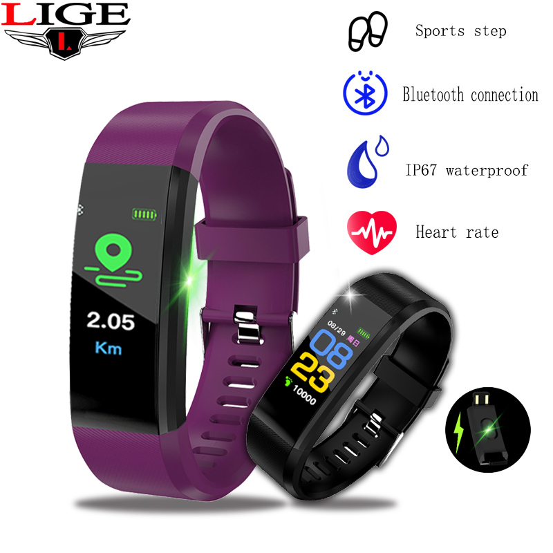 LIGE 2019 New Smart band Men Women Bluetooth Watch Heart Rate Monitor Bracelet Activity Tracker Waterproof Sport
